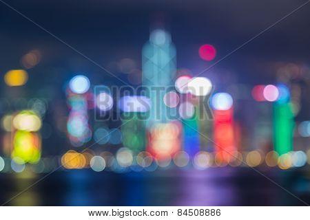 Defocused lights bokeh of Hong kong city