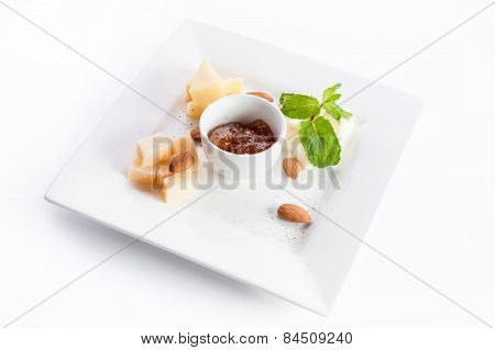 Cheese Platter With Almond Sauce And Mint