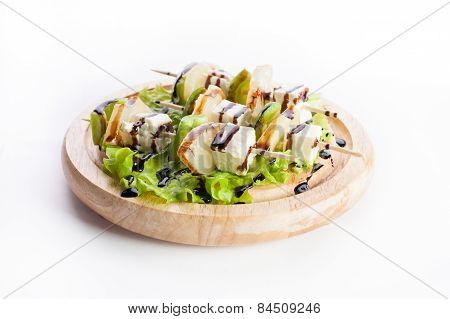 Canape With Zucchini, Avocado, Cheese And Lettuce