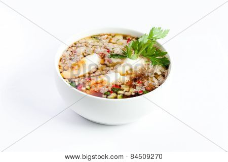 Cold Vegetable Soup With Kvass, Eggs And Parsley,on A White Background