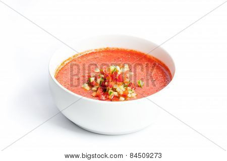 Vegetarian Tomato Puree In A Circular Plate On A White Background