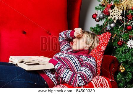 Young Woman Fell Asleep With A Book