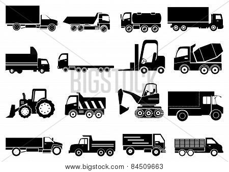 Towing vehicle icons set