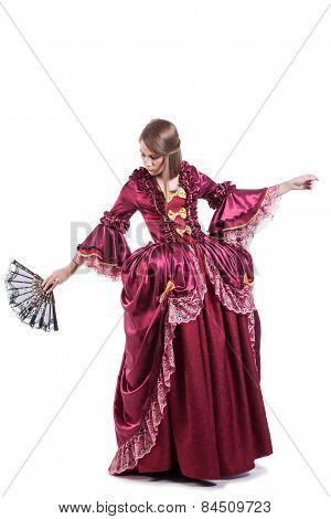 Medieval times lady dressed in elegant retro clothes isolated on white background