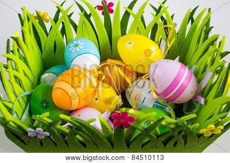 Green Grass Box With Easter Eggs