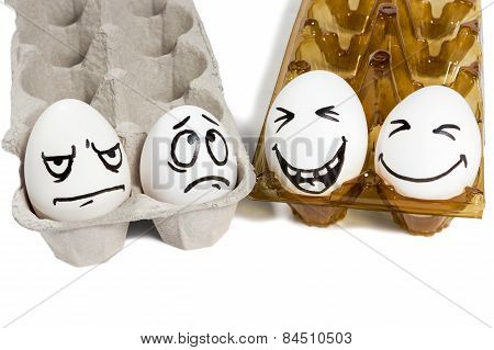 Two Sad And Cheerful Couple Eggs