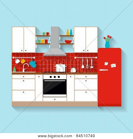 Kitchen interior. Flat style illustration