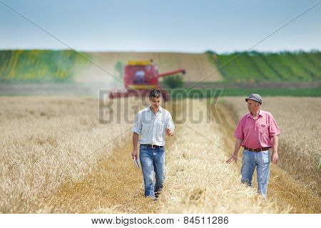 Farmers on wheat field