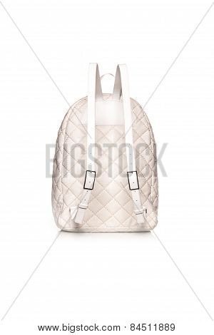 White Backpack From Behind On White Background