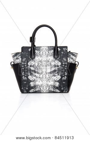 Leather, Women, Black And White Handbag On A White Background