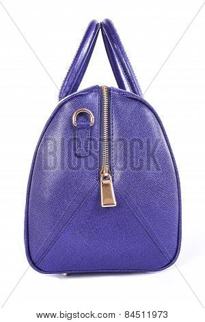 Purple Handbag Sideways On A White Background