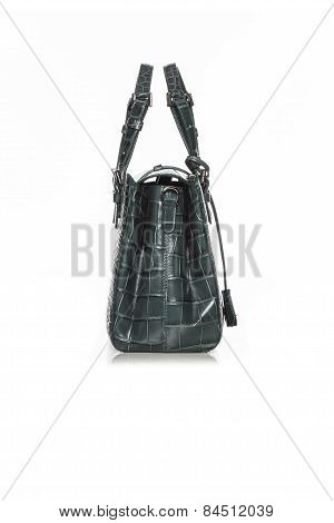 Female  Green Handbag With The Texture Of A Crocodile On White Background