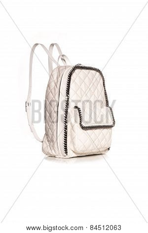 White Backpack  On White Background