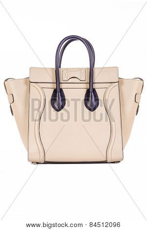 Beige Handbag On White Background