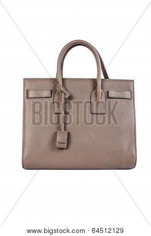 Dark Beige Womans Bag On White Background