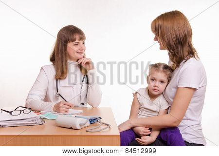 Pediatrician In Office Talking With My Mother Sick Child