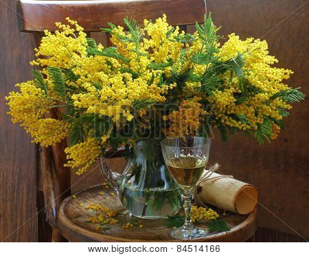 Still-life With A Bouquet Of A Mimosa And A Wine Glass