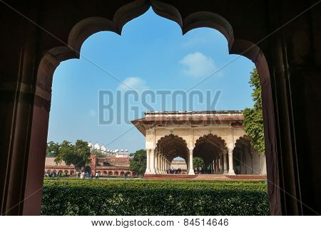 Diwan I Am, Hall Of Public Audience In Red Agra Fort
