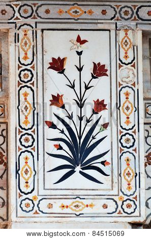 Detail Of The Decorations In Red Agra Fort