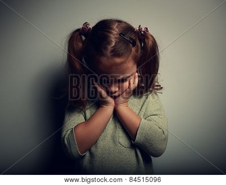 Sad Crying Alone Kid Girl On Dark Background