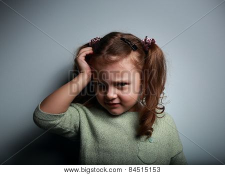 Sad Kid Girl With Headache Looking Unhappy