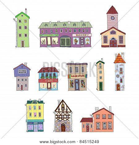 Set of vector vintage cartoon facades