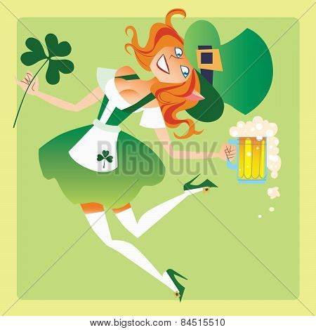 Girl elf on the feast day of St. Patrick