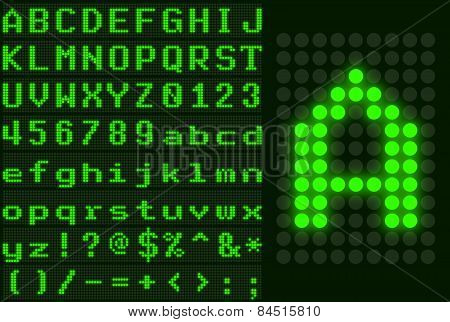 Green Dotted Led Display Letter Set