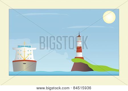 Ship And Lighthouse In The Sea