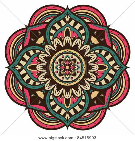 Multicolored Vector Mandala In Retro Style