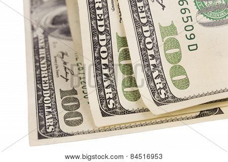 One Hundred Us Dollar Bills Isolated Over White