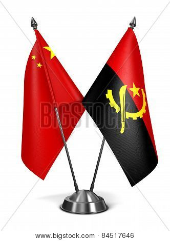 China and Angola - Miniature Flags.