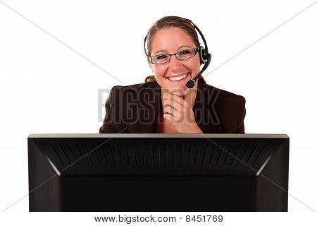 Help Desk Woman Computer