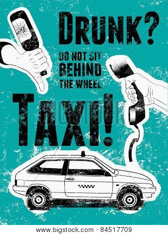 Typographic retro grunge taxi poster. Vector illustration.