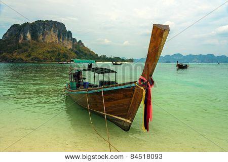 Longtail Boat In Koh Tup, Krabi
