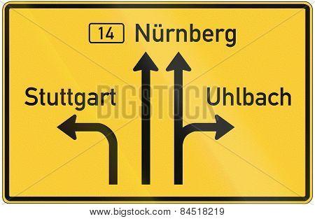 German Direction Sign Announcement