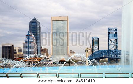 Jacksonville Florida Skyline And Friendship Fountain