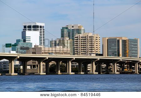 Jacksonville Florida Bridge And Skyline