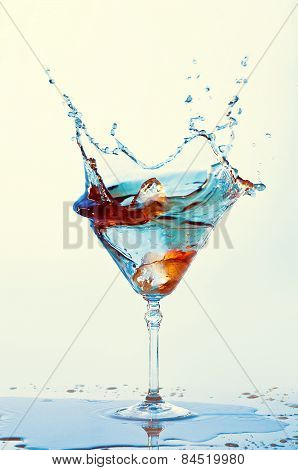 Cocktails Isolated On White Background. Splash. Martini Glass