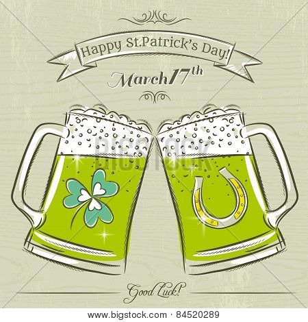 Card For St. Patrick's Day With Beer Mug