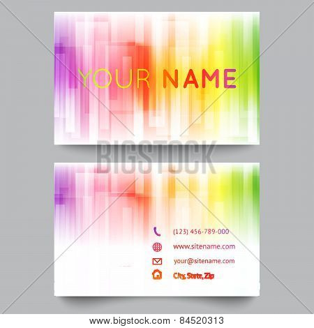Business card template, abstract bright rainbow on white background