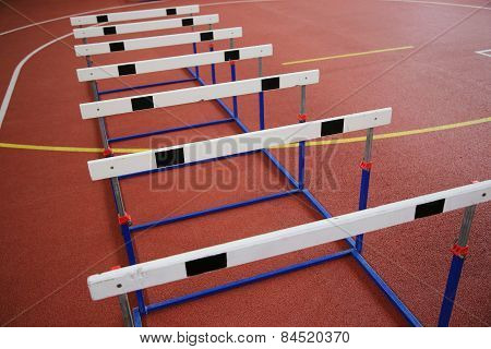 Row Of Cross-country Barriers In The Athletics Hall