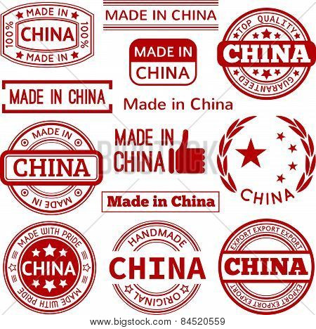 Set of various Made in China red vector graphics and labels