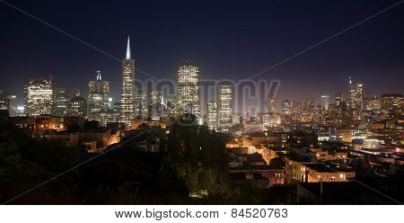 Beautiful Light Glows Over Neighborhood Homes Buildings San Francisco California