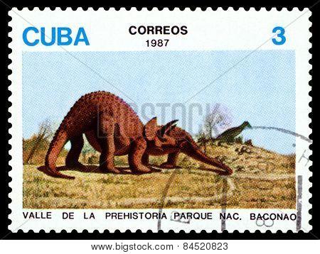 Vintage  Postage Stamp.   Dinosaur Triceratop.