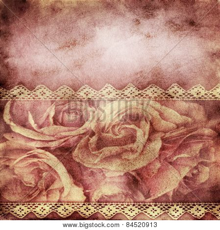Grunge abstract shabby paper background with roses
