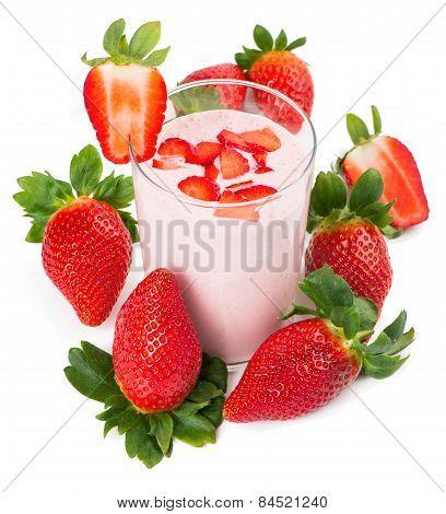 Glass Of Strawberry Yogurt, With Raw Strawberries
