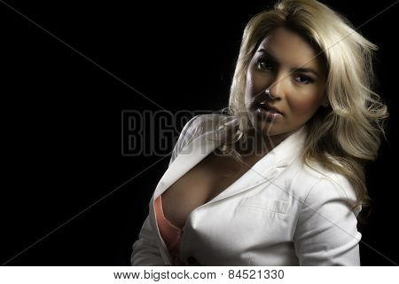 Blonde Latina Girl White Blazer Isolated Black Background