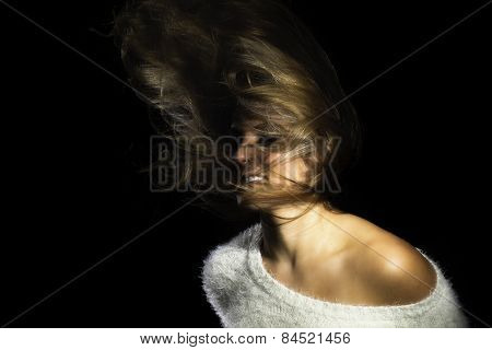 Latina Girl White Sweater Flinging Hair