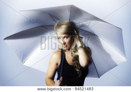 Blonde Latina Girl Holding Umbrella Stylized Silver